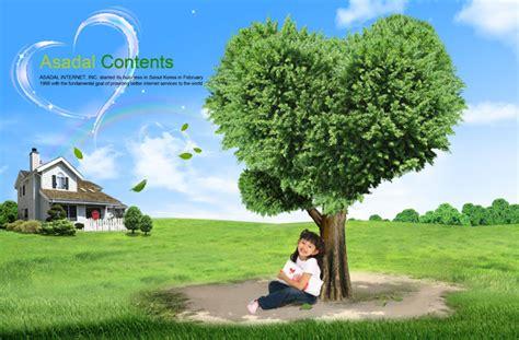children love tree psd material