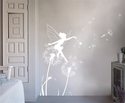 bambizi white wall stickers fairy design flower fairy magical wood unicorn