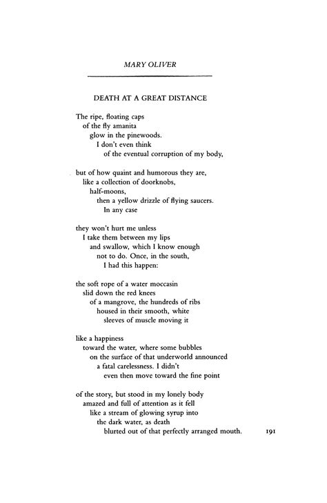 Death at a Great Distance by Mary Oliver | Poetry Magazine