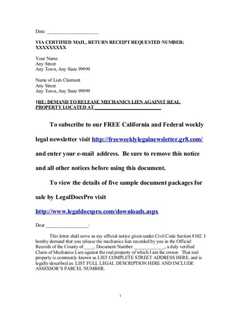 lien release letter sle california mechanics lien release demand letter