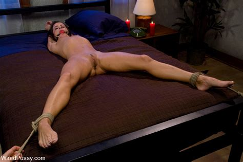 Cecilia Vega Tied Spread On The Bed At Bdsm Lesbian