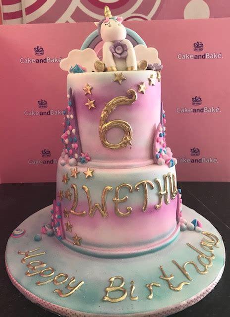 tier unicorn pastels cake  bake