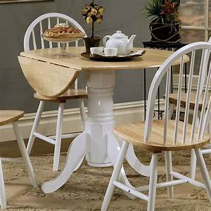 Coaster, Damen, Round, Drop, Leaf, Dining, Table, In, Natural, Brown, And, White