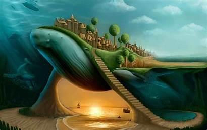 Surreal Split Whale Stairs Hintergrundbilder Coole Fantasia