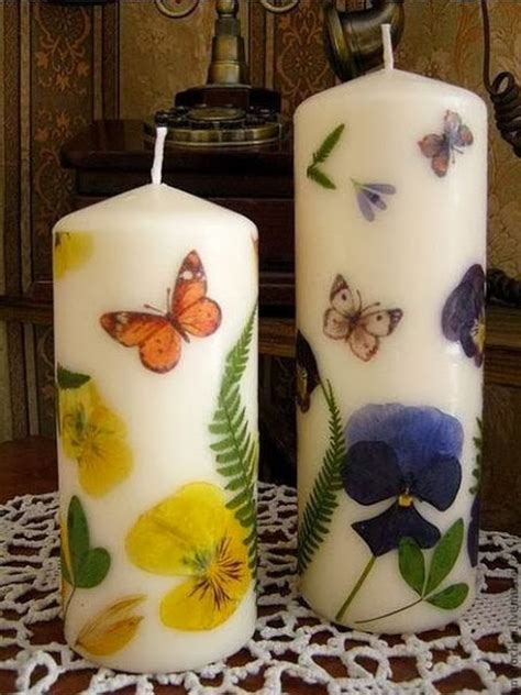 diy dried flowers decorated candles