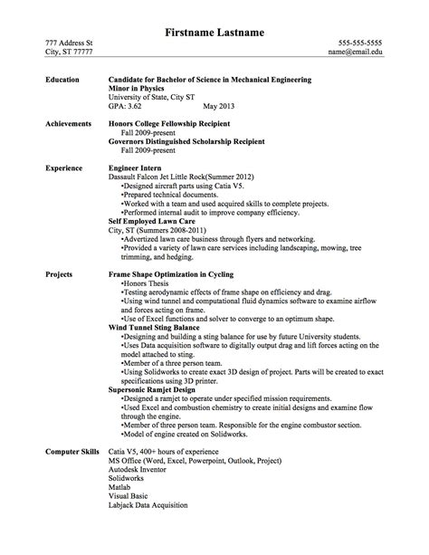 exle resume resume format after graduation