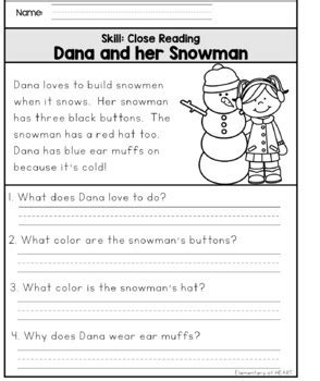 reading comprehension printable worksheets winter by elementary at heart
