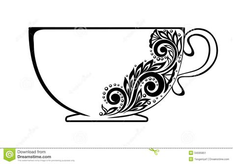 Beautiful Cup, Decorated With Black And White Flor Stock Image   Image: 34595851