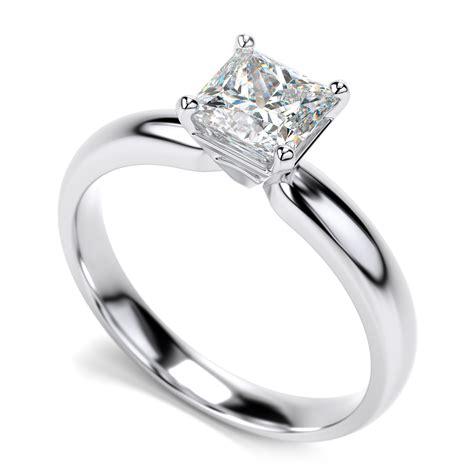 white gold diamond princess cut solitaire engagement