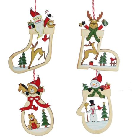 set of four wooden christmas tree decorations ebay
