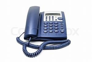 Modern Blue Business Office Telephone Isolated On A White