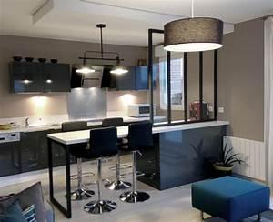 cuisine ouverte avec verriere industriel cuisine With charming plan de travail pour exterieur 4 renover une cuisine avec les plans de travail de