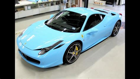 Many details are not known to us, but from the pictures we can at least deduce that the car is light blue matt. Ferrari 458 gets wrapped in Baby Blue - YouTube