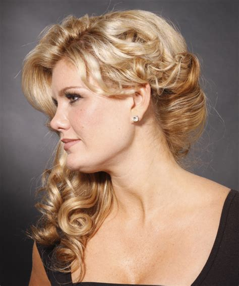 hair styles with a bun wavy formal half up hairstyle 2674