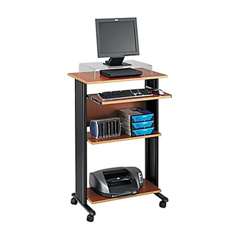 office max stand up computer desk safco fixed height stand up workstation cherry by office