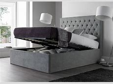 Maxi Steel Grey Upholstered Ottoman Storage Bed Frame Only