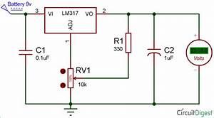 Lm317 Variable Voltage Regulator Circuit Diagram