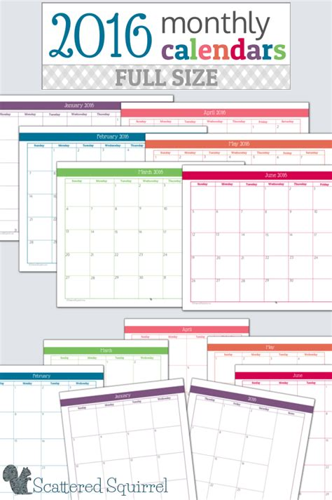 monthly calendar printables full size edition