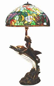 Dolphin with green ocean park shade tiffany style floor lamp for Tiffany dolphin floor lamp