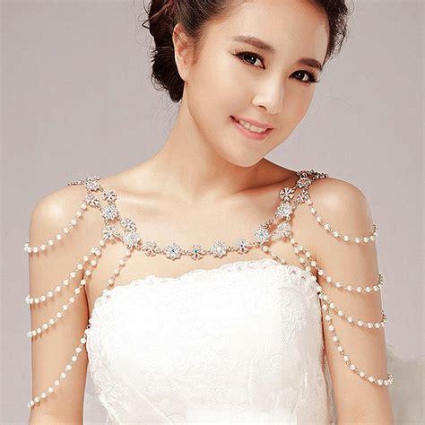 fashion unique pearl shoulder chain wedding bridal jewelry