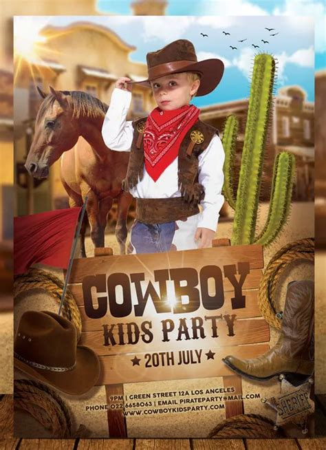 cowboy kids party flyer  aarleykaiven   images
