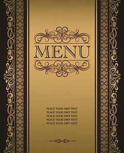Vector menu with gold frame material 02 - Vector Cover ...