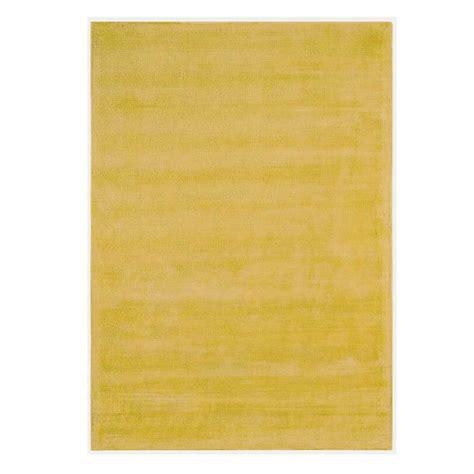 tapis contemporain jaune en viscose et coton tiss 233