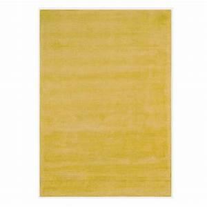 tapis contemporain jaune en viscose et coton tisse main With tapis jaune avec canapé en coton
