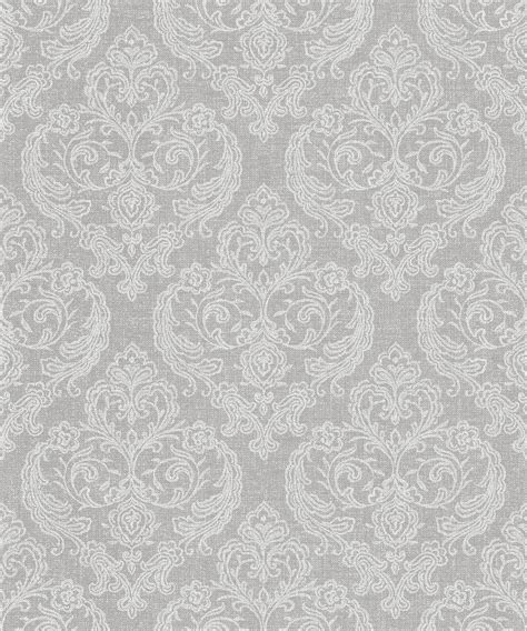 M1309 Crown Calico Damask Soft Grey Wallpaper Wallpaper