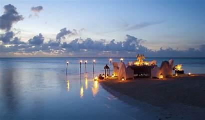 Romantic Dinner Beach Ocean Sunset Night Romance