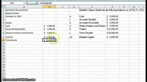 create  simple balance sheet youtube
