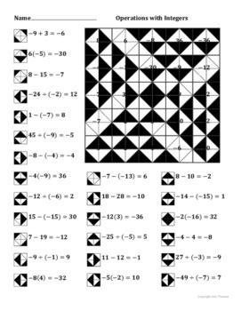 operations  integers color worksheet  aric thomas tpt