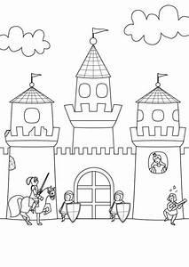 Kostenlose Malvorlage Ritter und Drachen: Ritterburg zum Ausmalen zum Ausmalen