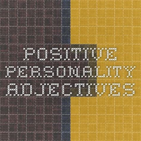 positive personality adjectives  images esl