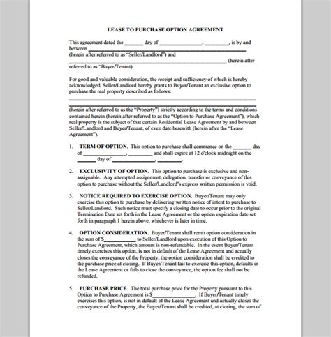 purchase template  lease agreement sample  lease