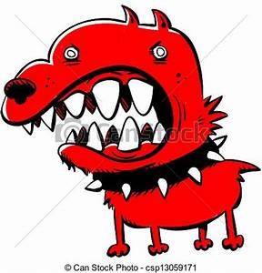 Stock Illustrations of Mean Dog - A cartoon of an angry ...