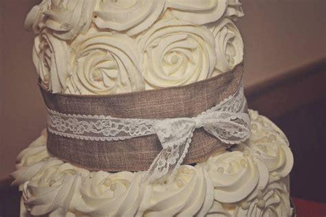 Burlap And Lace Wedding Cake Wedding Pinterest