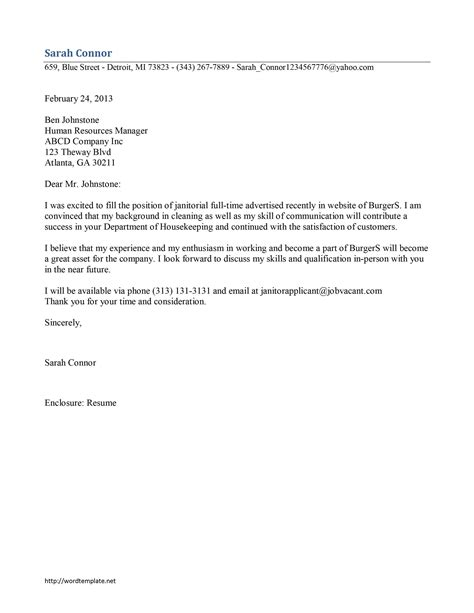 Custodian Cover Letter Exles by Janitor Cover Letter Template