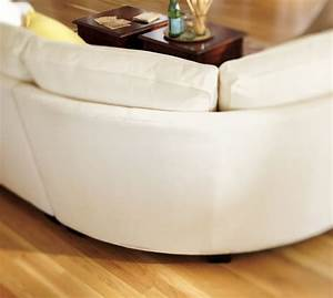 Buchanan roll arm upholstered curved 3 piece sectional for Sectional sofa wedge table