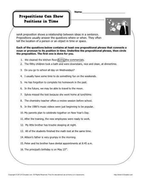 preposition worksheet prepositions can show in