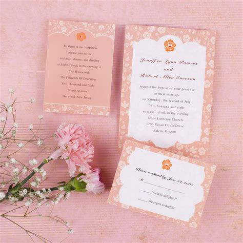 pink wedding invitations coral floral wedding invitation ewi199 as low as 0 94