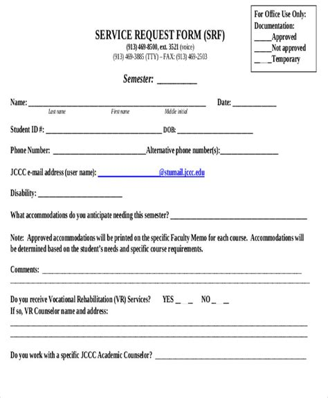 sle service request form 11 exles in word pdf