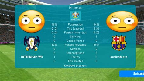 Match between barcelona VS tottenham (pes mobile 2020 ...