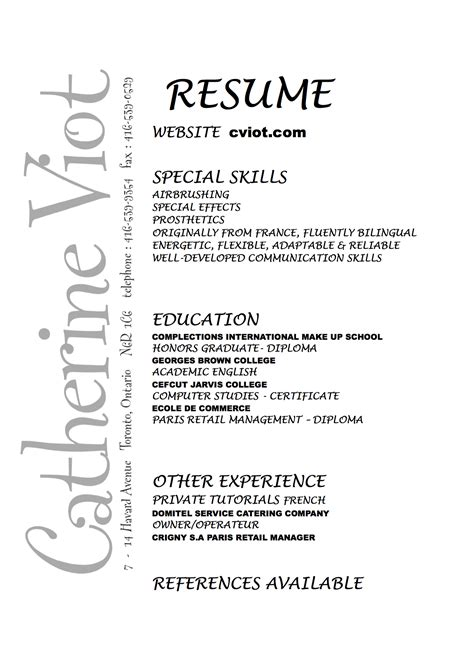 resumes for makeup artists catherine viot makeup artist