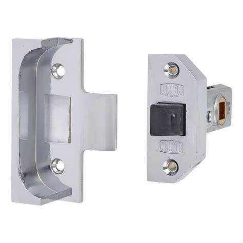 union  rebated tubular latch mm case mm backset bright silver ironmongerydirect