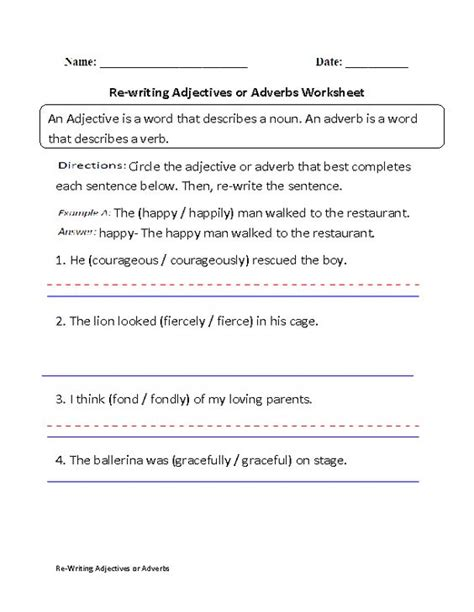 re writing adjectives or adverbs worksheet part 1 beginner grammar and punctuation pinterest