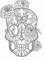 Coloring Skull Sugar Adult Easy Colouring Printable Sheets Mandala Flowers K5worksheets sketch template