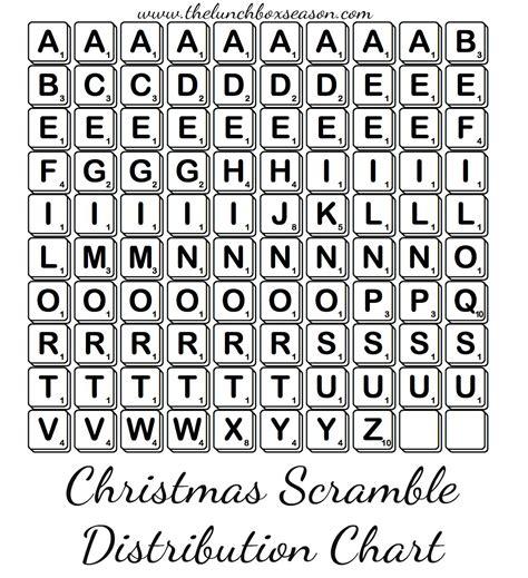 official distribution chart  scramble scrabble letters