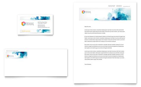 behavioral counseling business card letterhead template