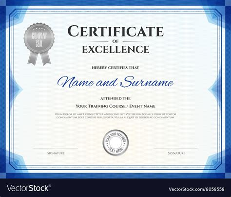 Certificate Of Excellence Template In Blue Theme Vector Image